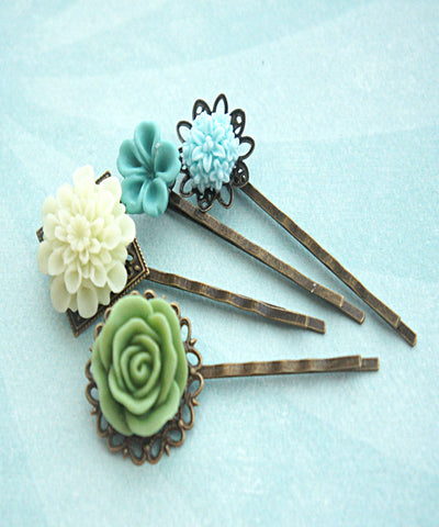 Shades of Green Flower Hair Clips - Jillicious charms and accessories