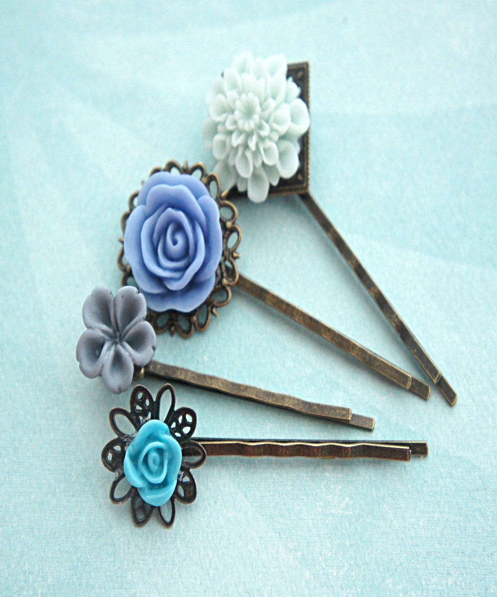 Shades of Blue Flower Hair Clips - Jillicious charms and accessories - 3