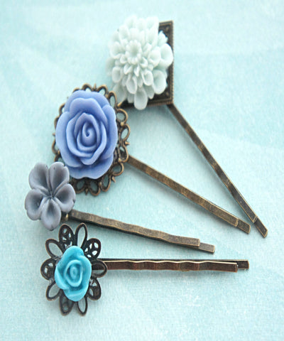 Shades of Blue Flower Hair Clips - Jillicious charms and accessories