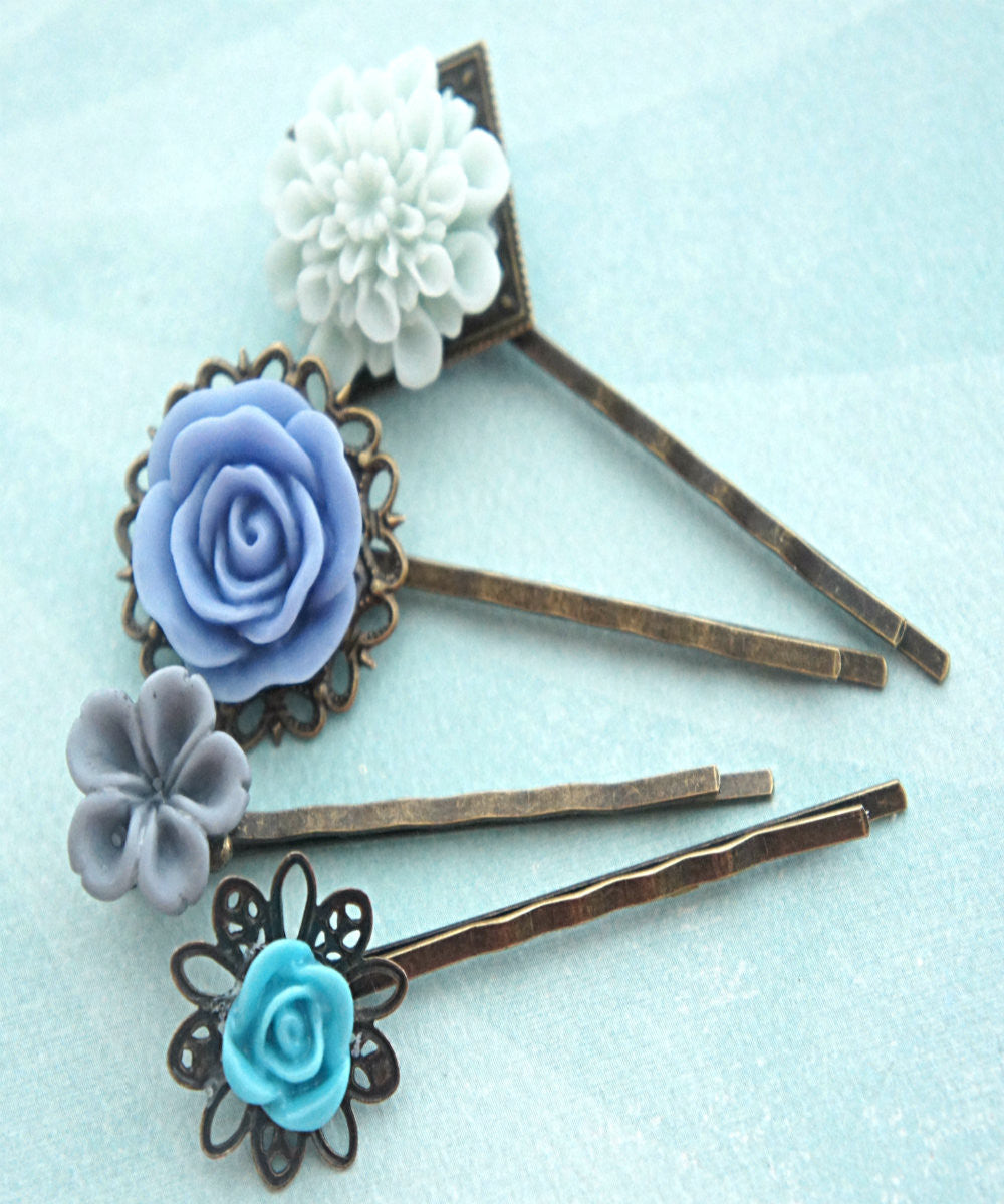 Shades of Blue Flower Hair Clips - Jillicious charms and accessories - 2