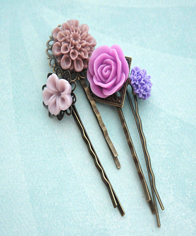 Shades of Purple Flower Hair Clips - Jillicious charms and accessories - 1