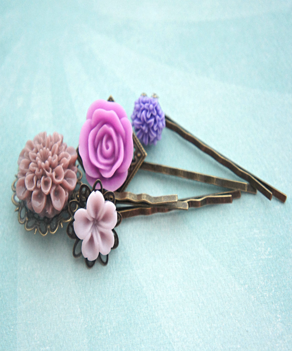 Shades of Purple Flower Hair Clips - Jillicious charms and accessories - 3