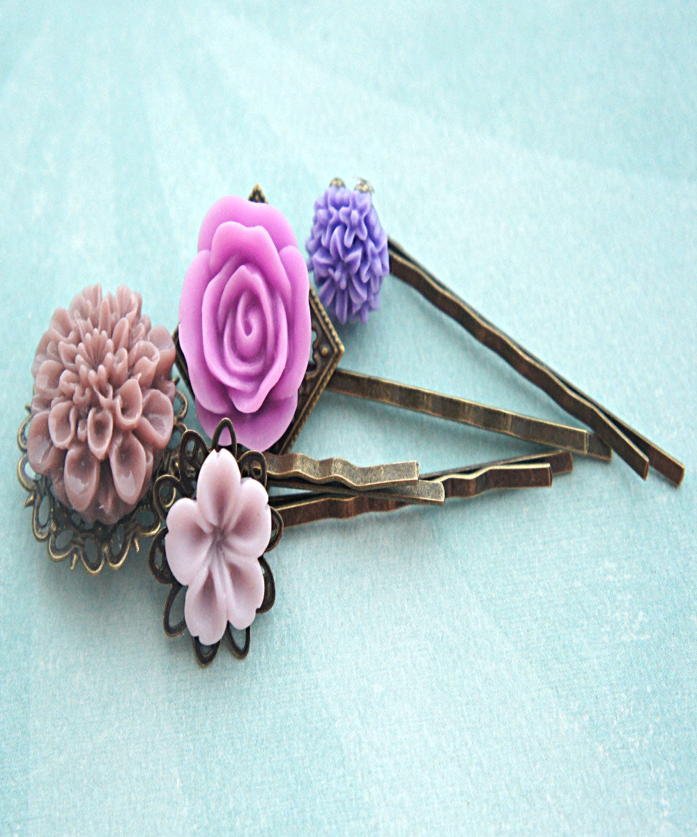 Shades of Purple Flower Hair Clips - Jillicious charms and accessories - 2