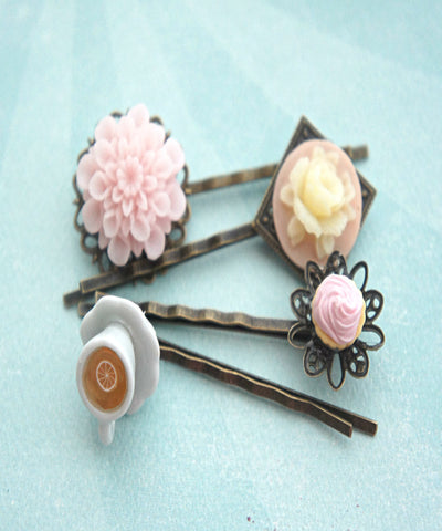 cupcake, flowers and tea filigree hair pins - Jillicious charms and accessories