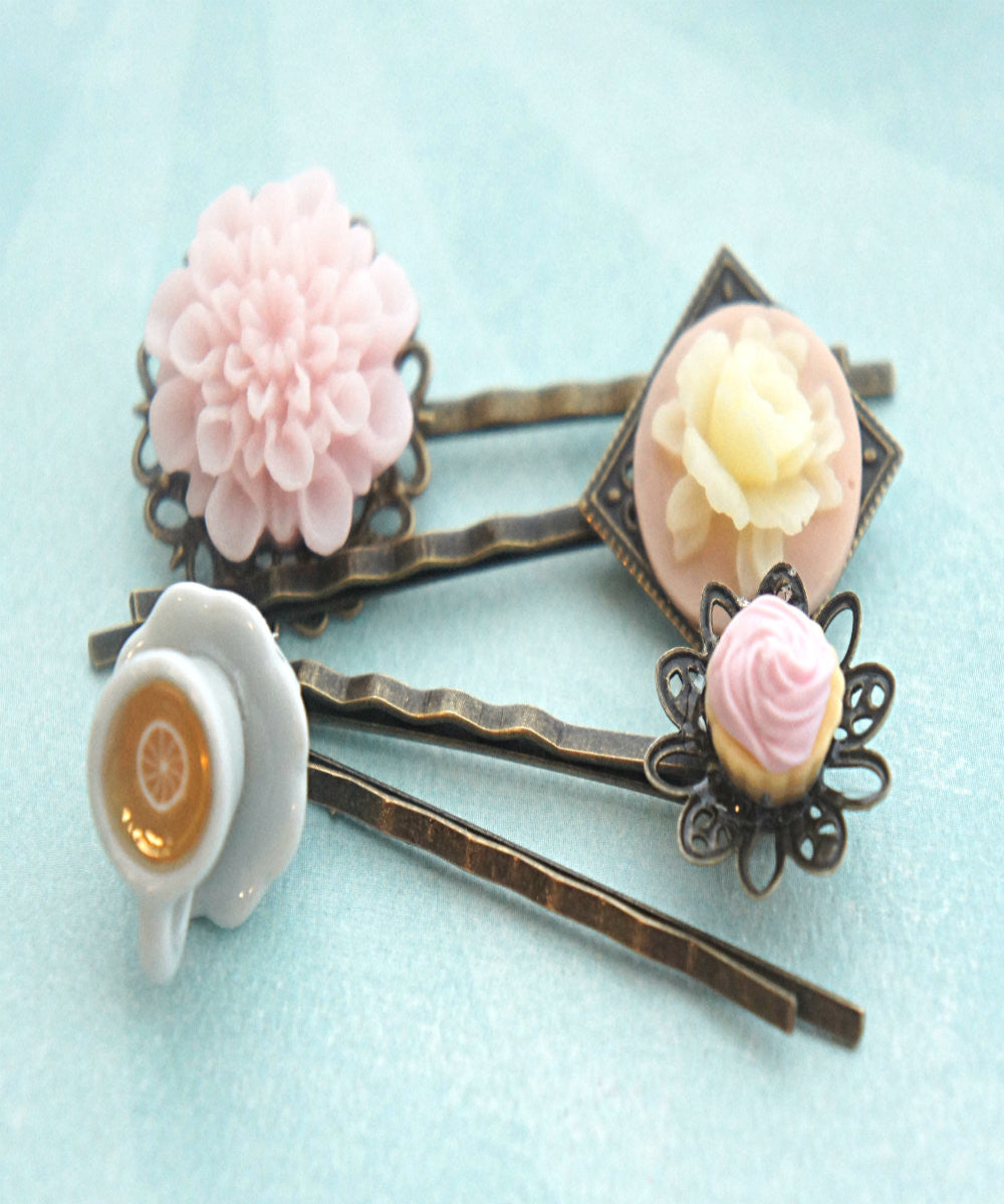 cupcake, flowers and tea filigree hair pins - Jillicious charms and accessories - 2