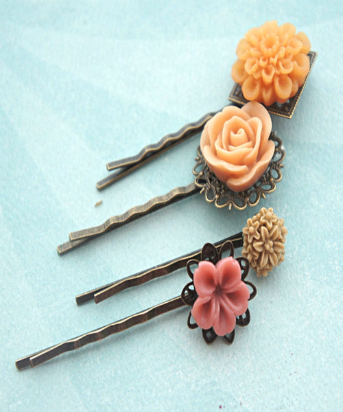 Shades of Peach Flower Hair Clips - Jillicious charms and accessories - 1