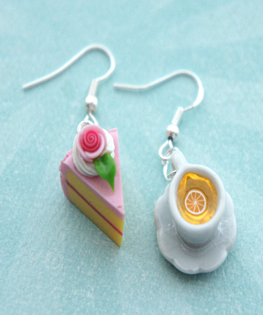 Rose Cake and Lemon Tea Dangle Earrings - Jillicious charms and accessories - 3
