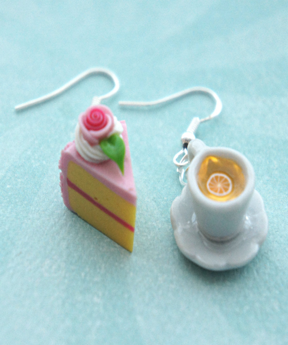 Rose Cake and Lemon Tea Dangle Earrings - Jillicious charms and accessories - 4