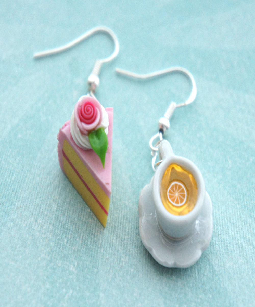 Rose Cake and Lemon Tea Dangle Earrings - Jillicious charms and accessories - 1