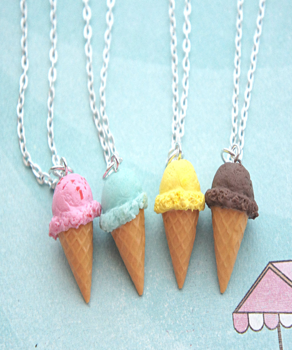 Ice Cream Cone Necklace - Jillicious charms and accessories