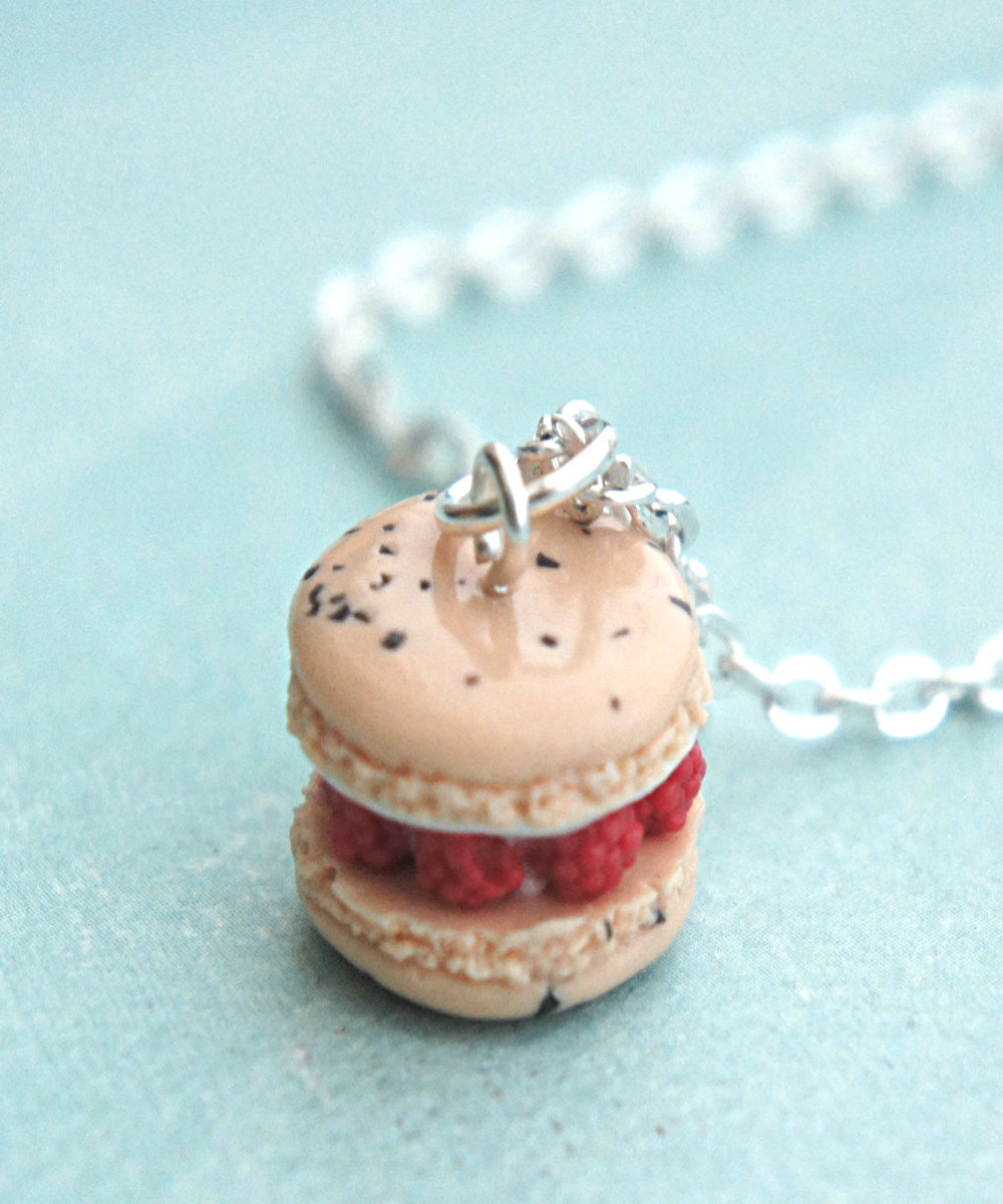 Raspberries and Cream French Macaron Necklace - Jillicious charms and accessories - 1