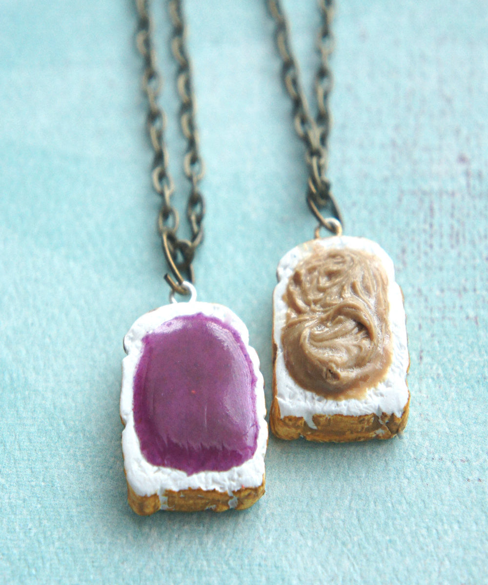 Peanut Butter and Jelly Toasts Friendship Necklace Set - Jillicious charms and accessories