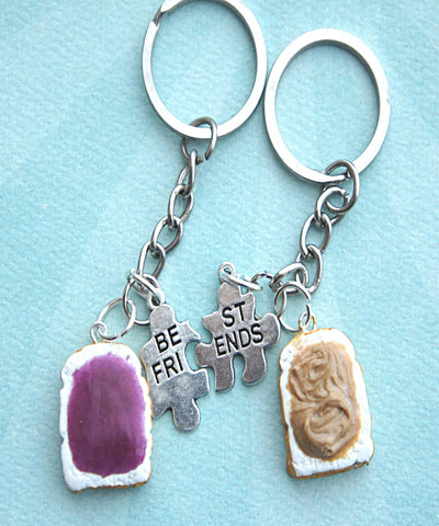 Peanut Butter and Jelly Toasts Friendship Keychain Set - Jillicious charms and accessories - 1