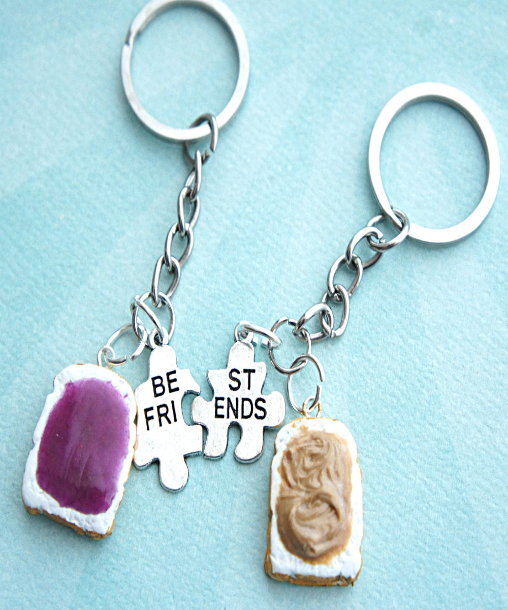 Peanut Butter and Jelly Toasts Friendship Keychain Set - Jillicious charms and accessories - 2