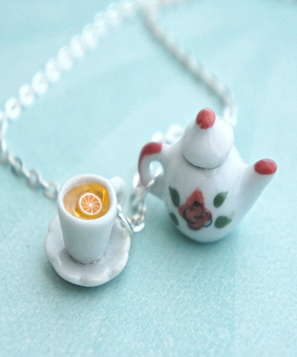Rose Tea Set Necklace - Jillicious charms and accessories - 3