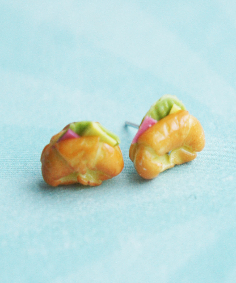 ham croissant stud earrings - Jillicious charms and accessories - 1