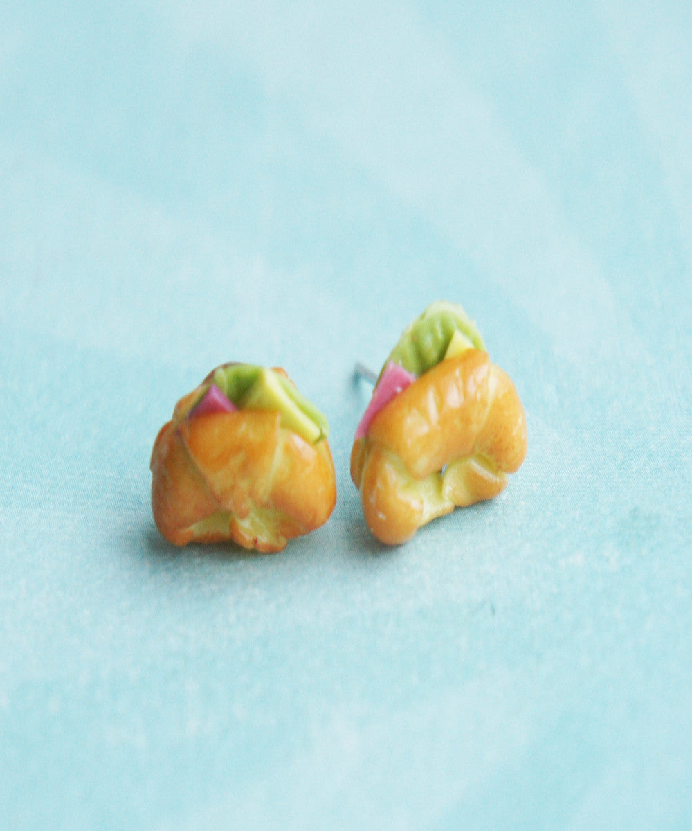 ham croissant stud earrings - Jillicious charms and accessories