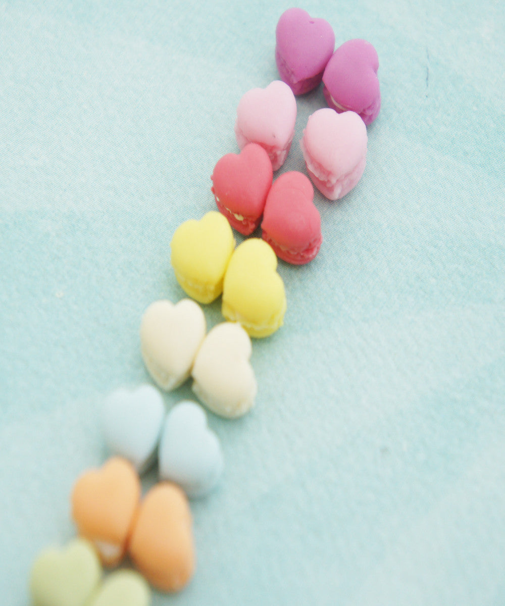 french macaron hearts stud earrings - Jillicious charms and accessories - 3