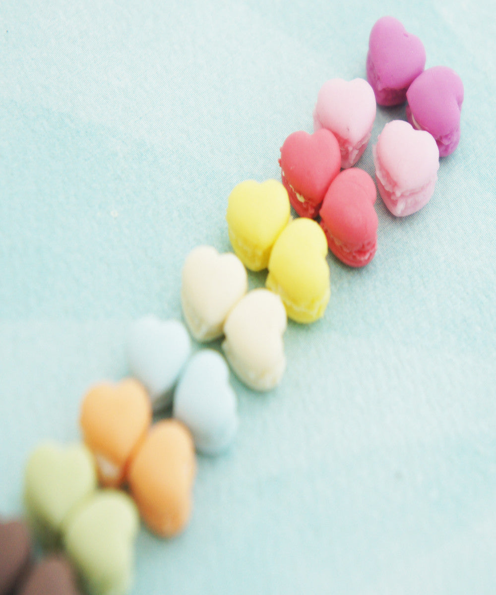 french macaron hearts stud earrings - Jillicious charms and accessories