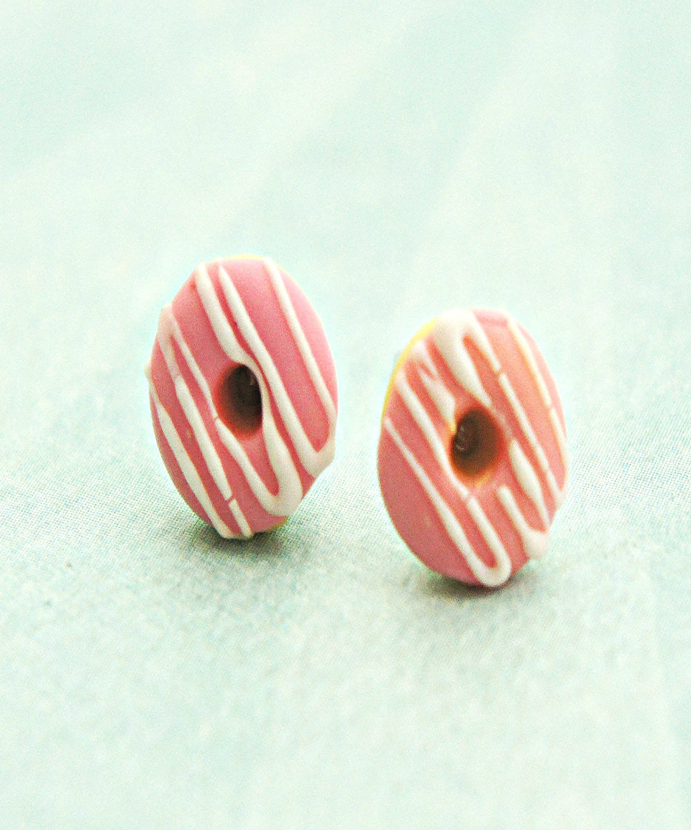 Strawberry Donuts w/ White Chocolate Drizzle Stud Earrings - Jillicious charms and accessories