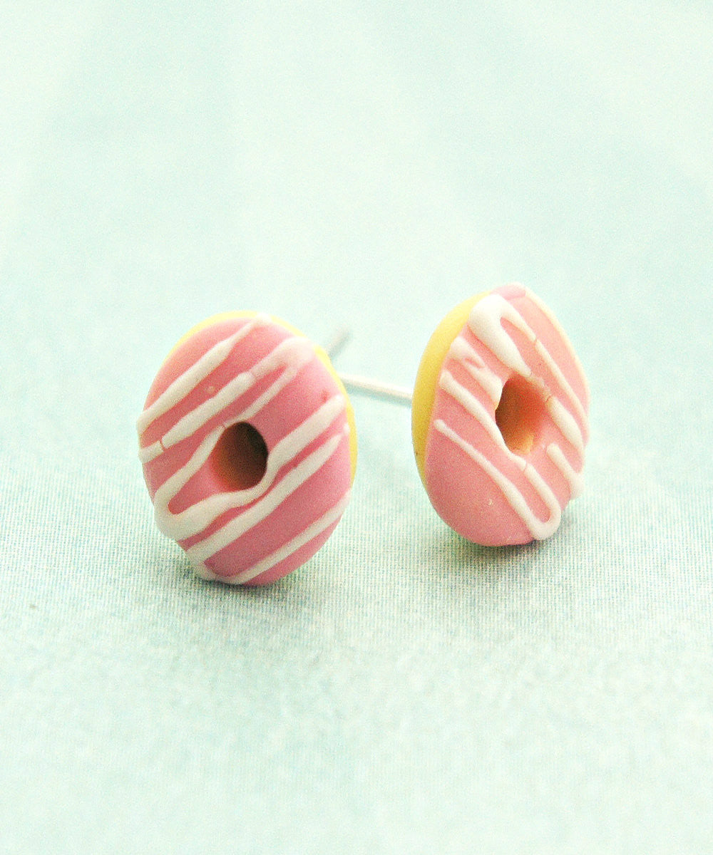 Strawberry Donuts w/ White Chocolate Drizzle Stud Earrings - Jillicious charms and accessories - 2