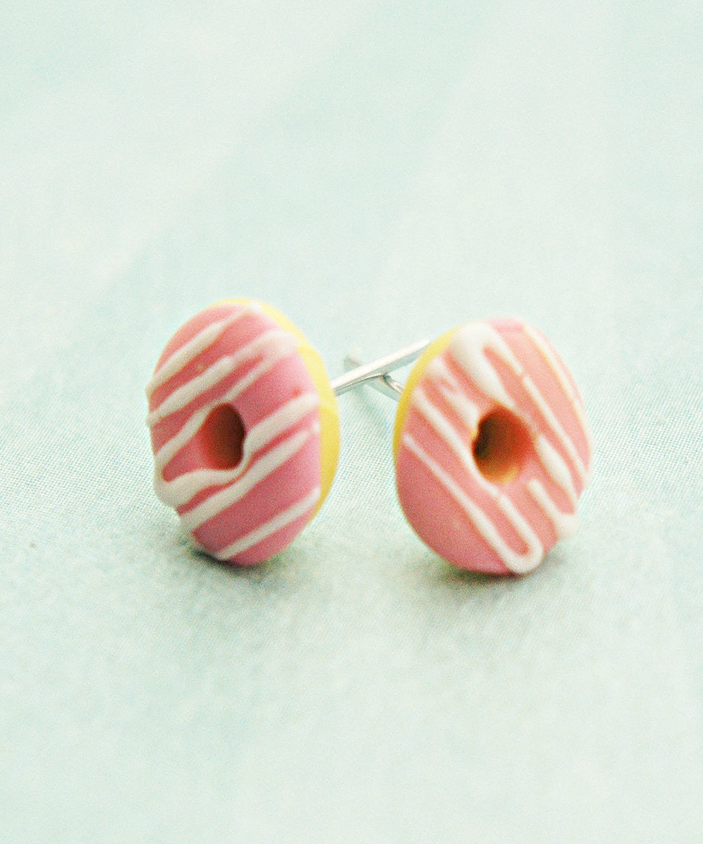 Strawberry Donuts w/ White Chocolate Drizzle Stud Earrings - Jillicious charms and accessories - 3