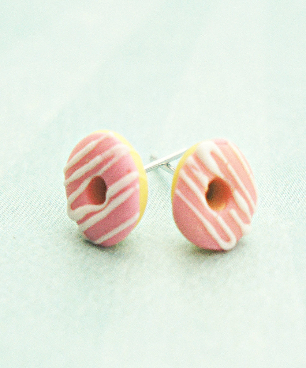 Strawberry Donuts w/ White Chocolate Drizzle Stud Earrings - Jillicious charms and accessories - 1