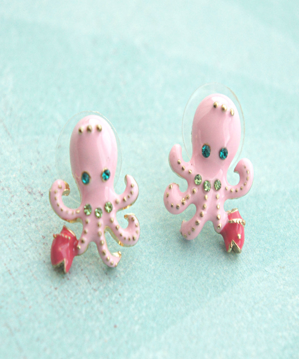 Pink Octopus Stud Earrings - Jillicious charms and accessories - 2