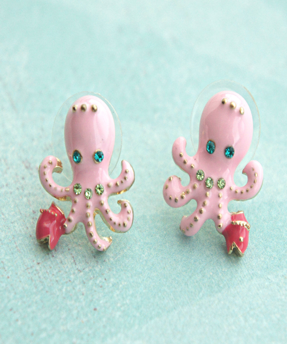 Pink Octopus Stud Earrings - Jillicious charms and accessories - 3