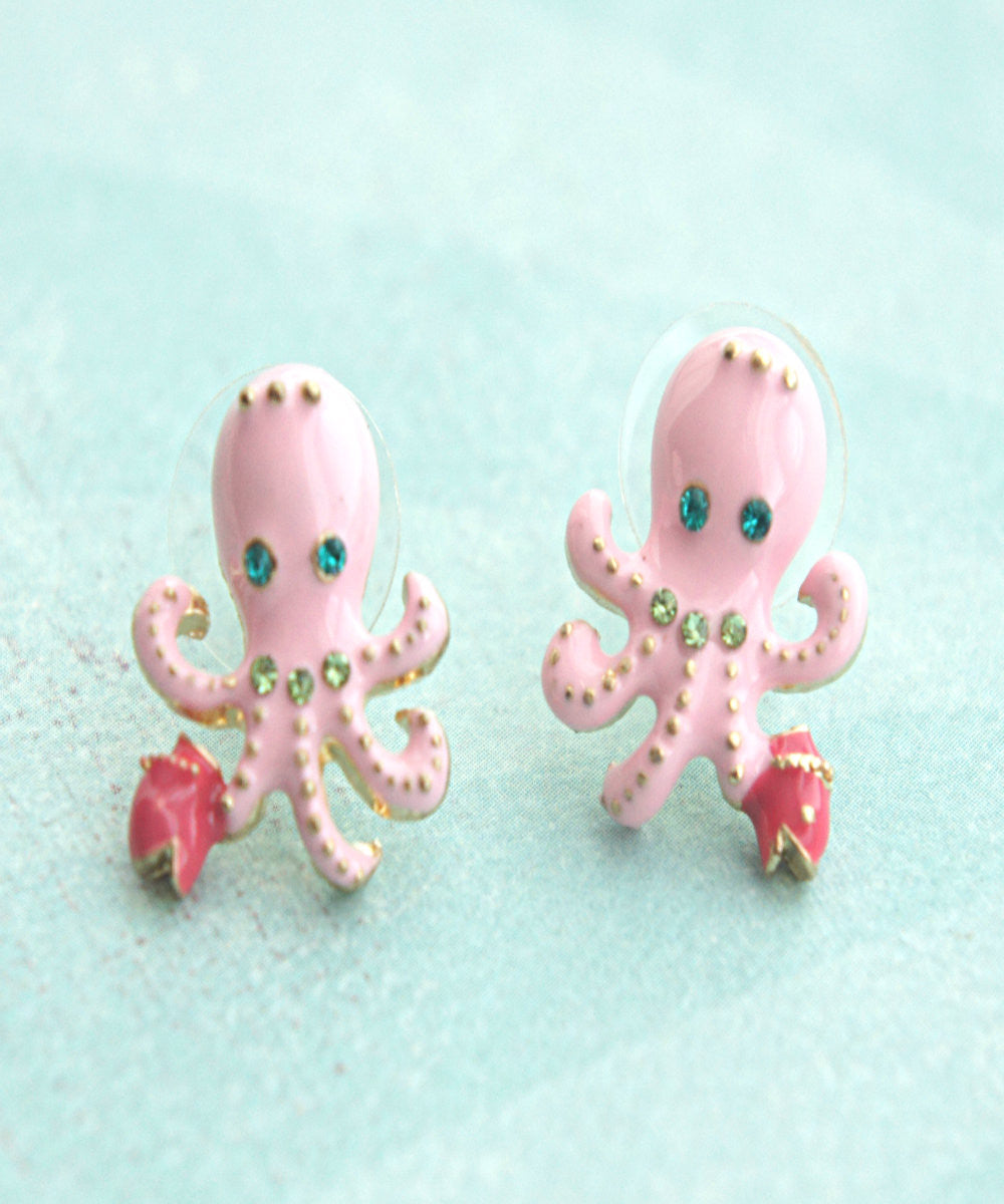 Pink Octopus Stud Earrings - Jillicious charms and accessories - 1