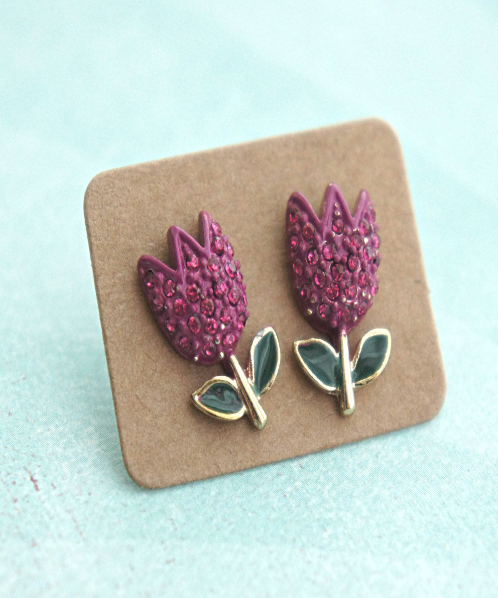 Pink Tulips Stud Earrings - Jillicious charms and accessories - 2