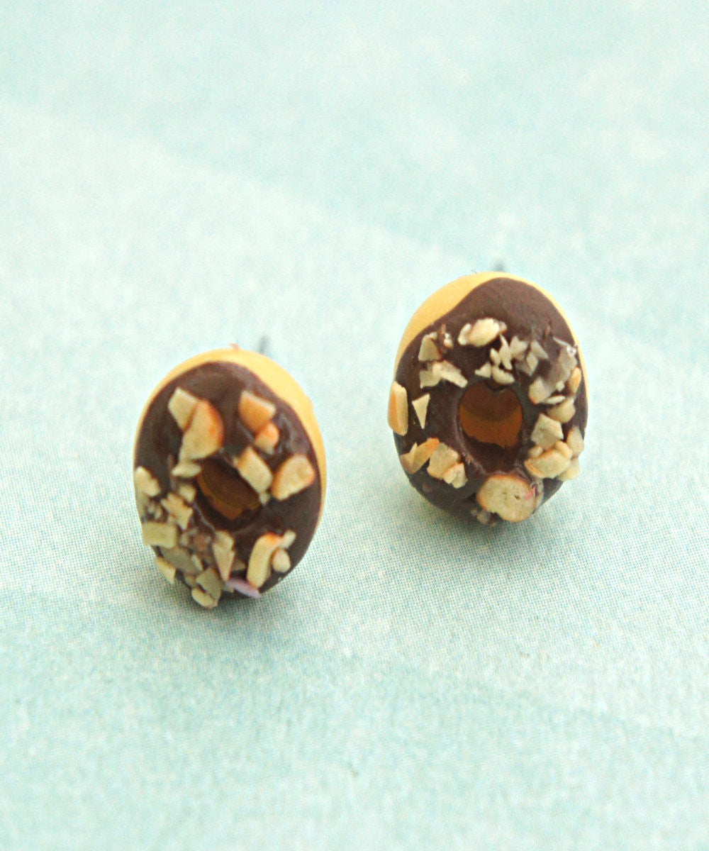 chocolate nut donut earrings - Jillicious charms and accessories