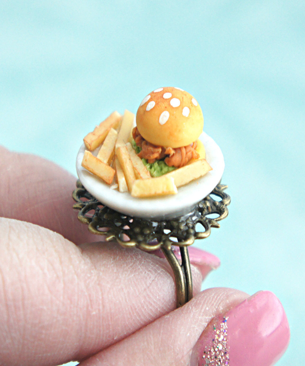 chicken sandwich and fries plate ring - Jillicious charms and accessories