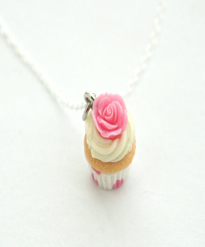 Vanilla Rose Cupcake Necklace - Jillicious charms and accessories - 1
