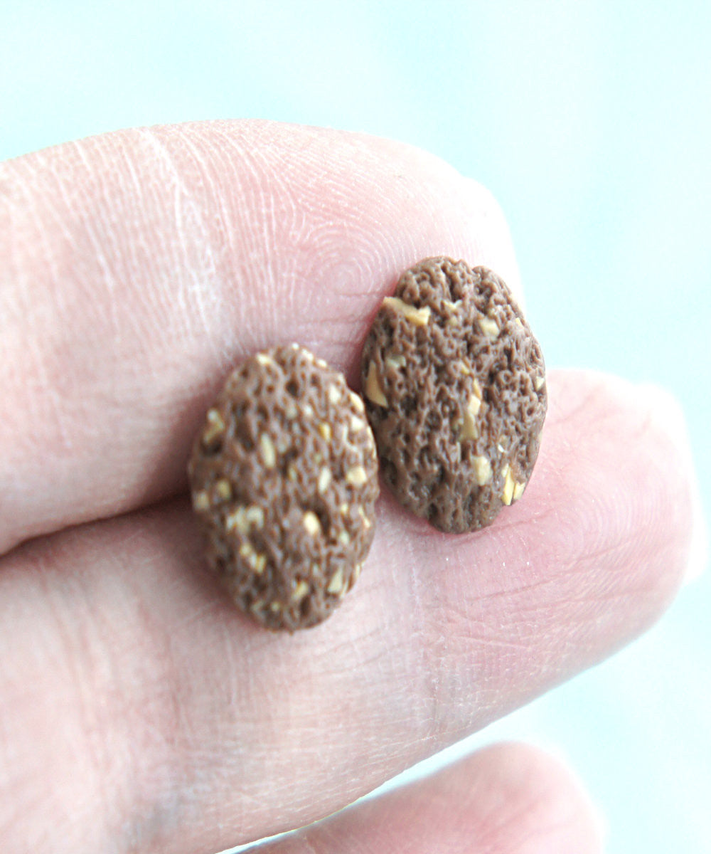 chocolate walnut cookies stud earrings - Jillicious charms and accessories