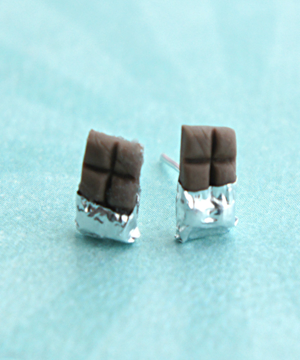 chocolate bar stud earrings - Jillicious charms and accessories - 1