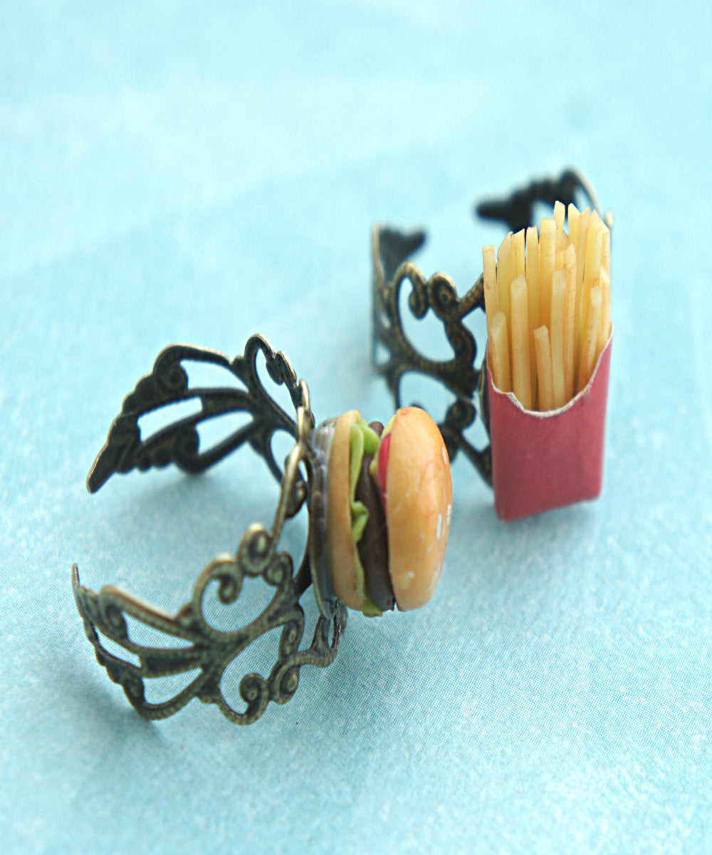 Burger and Fries Friendship Rings - Jillicious charms and accessories - 1