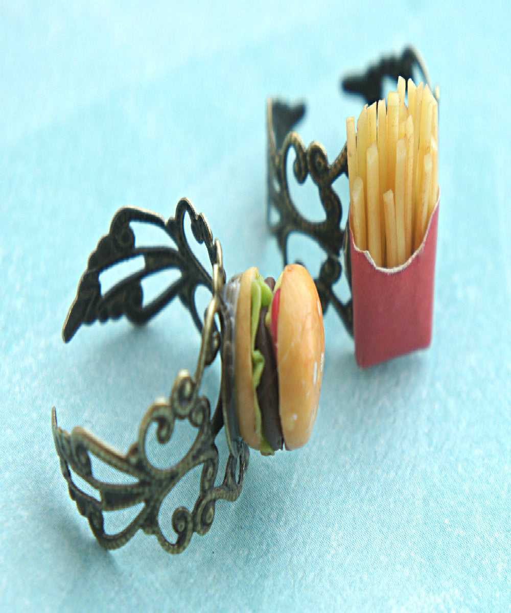Burger and Fries Friendship Rings - Jillicious charms and accessories - 3
