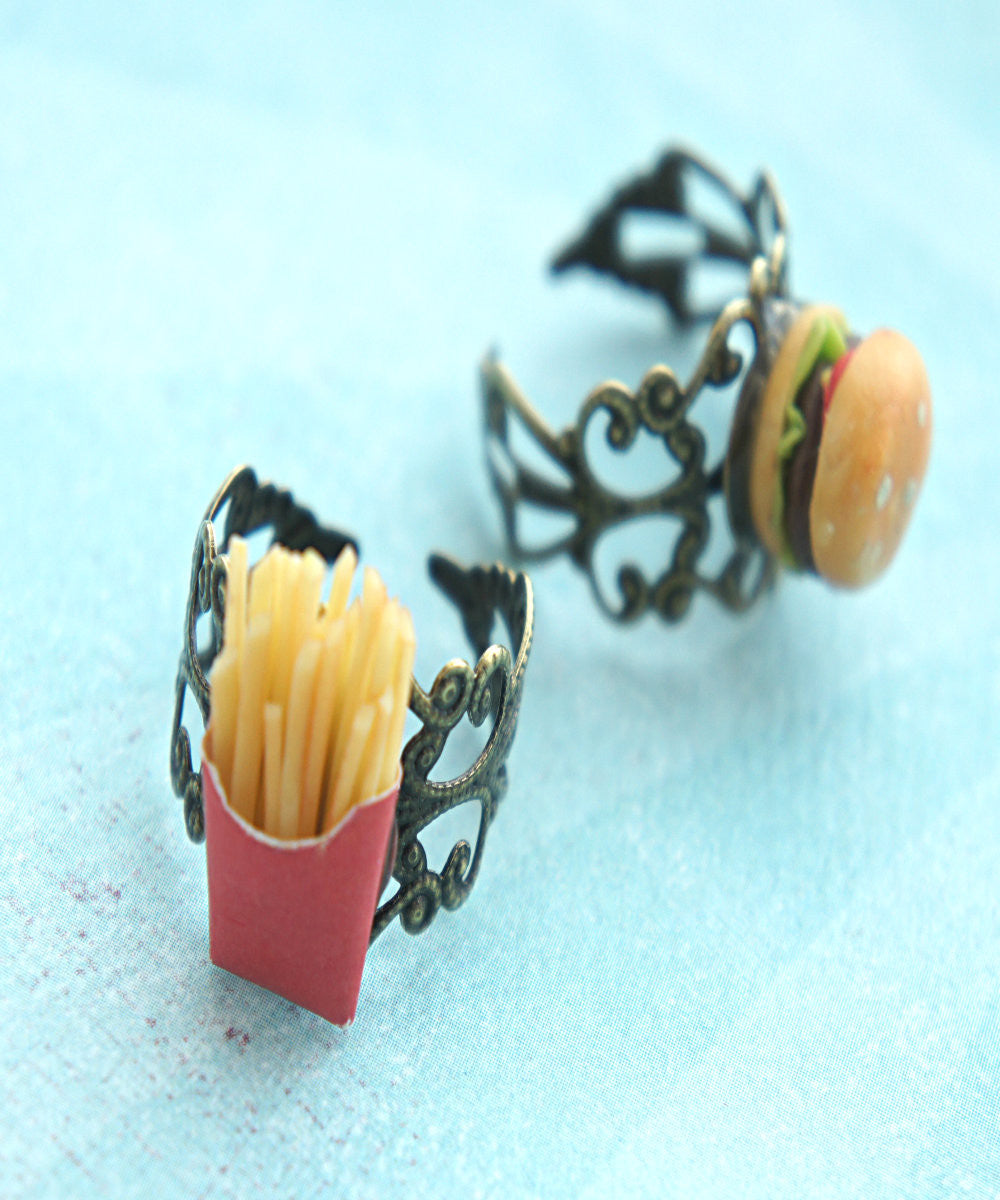 Burger and Fries Friendship Rings - Jillicious charms and accessories - 2