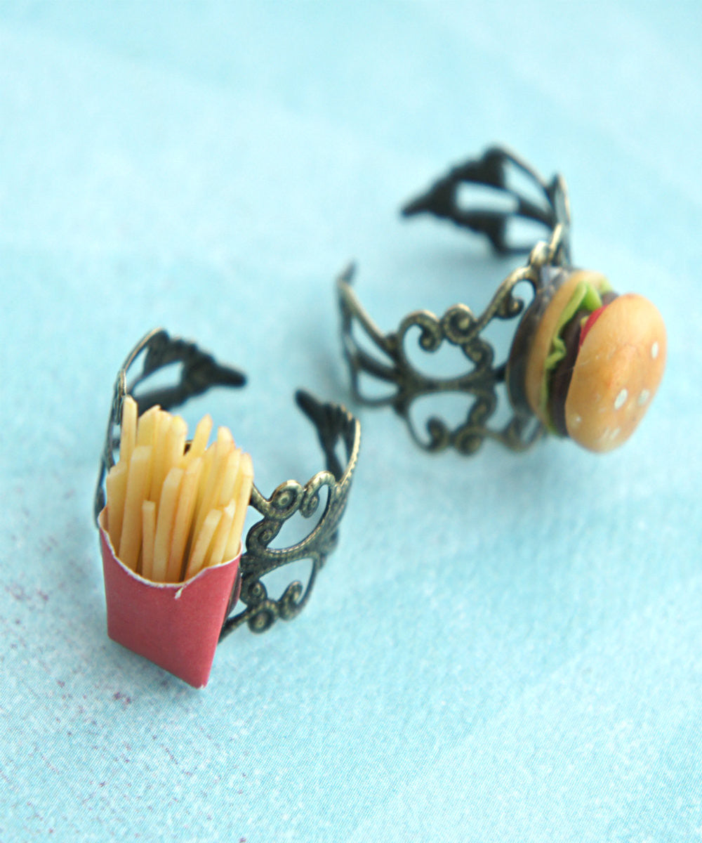 Burger and Fries Friendship Rings - Jillicious charms and accessories