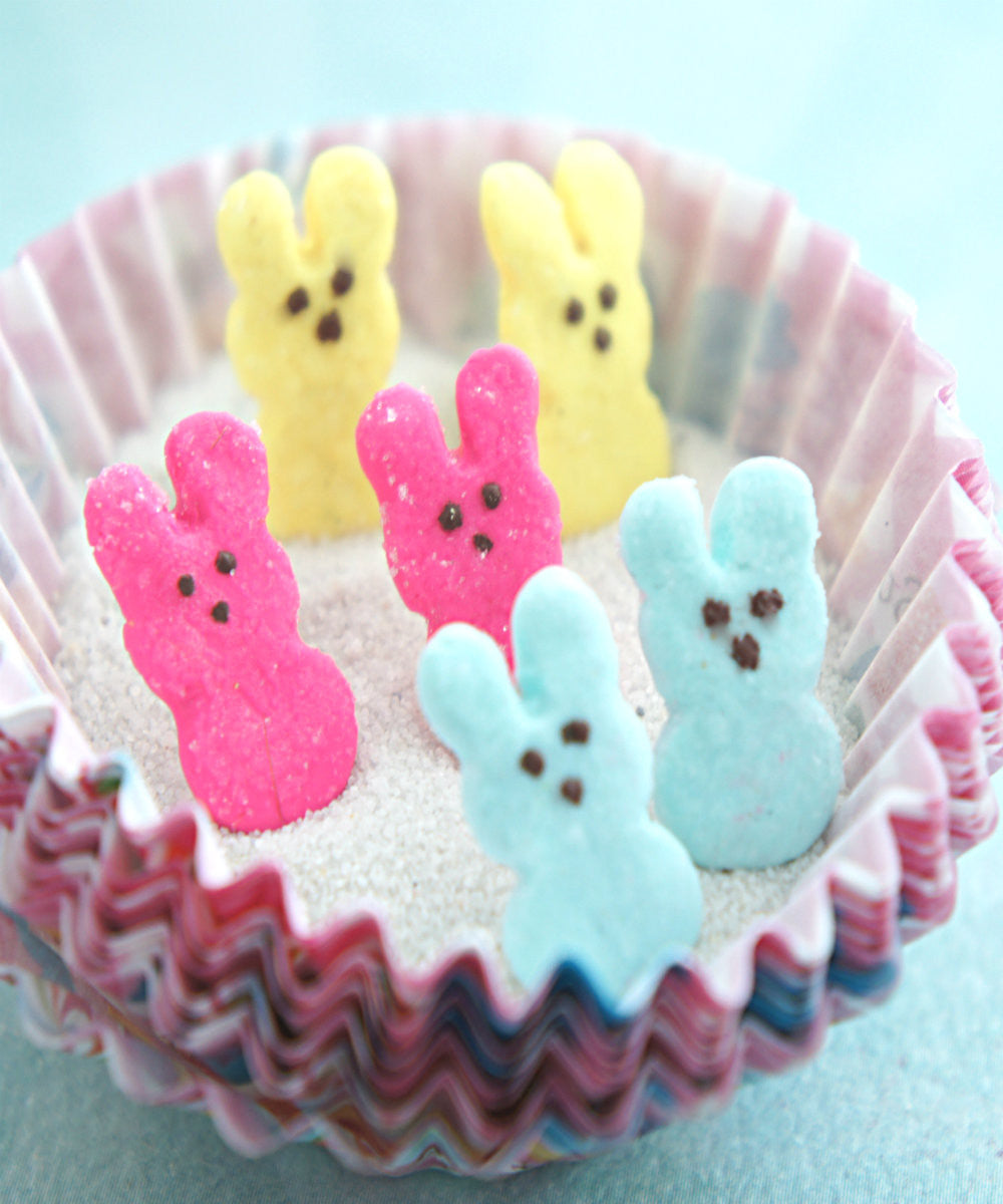 Marshmallow Bunny Earrings - Jillicious charms and accessories