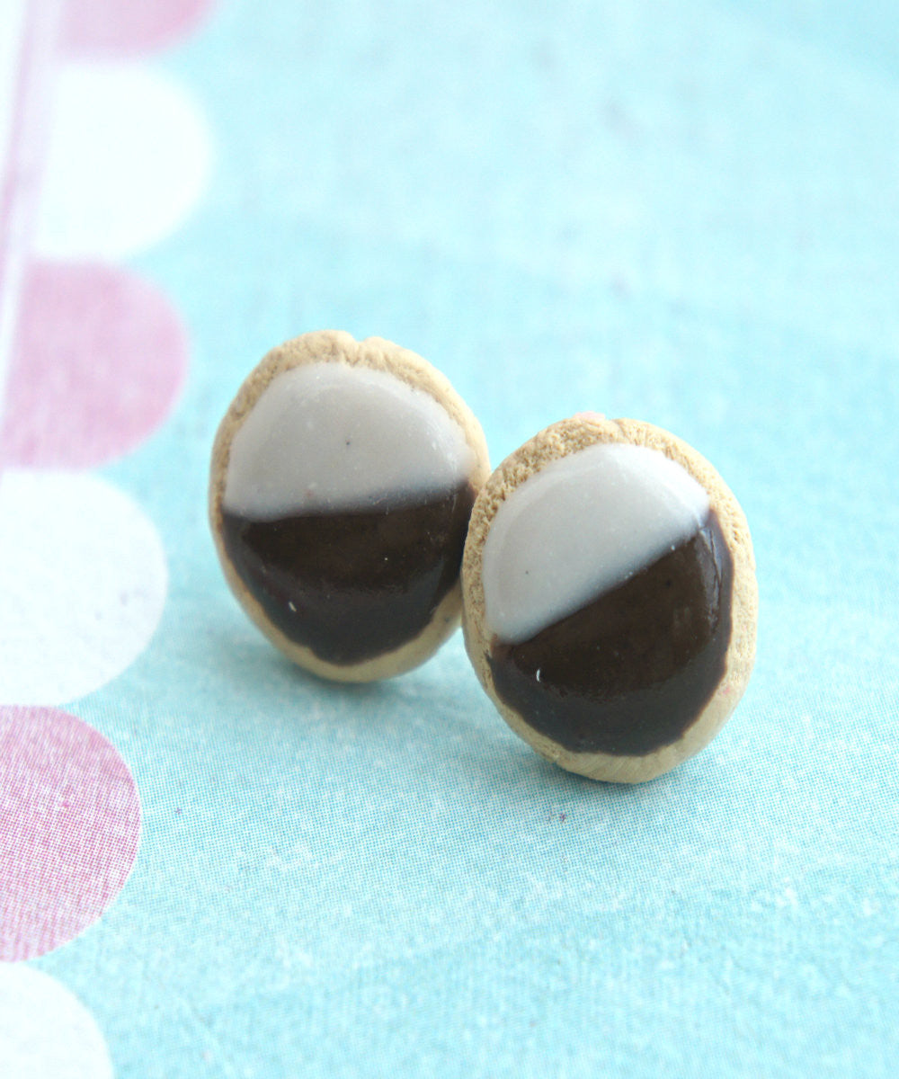 Black and White Cookies Stud Earrings - Jillicious charms and accessories - 1