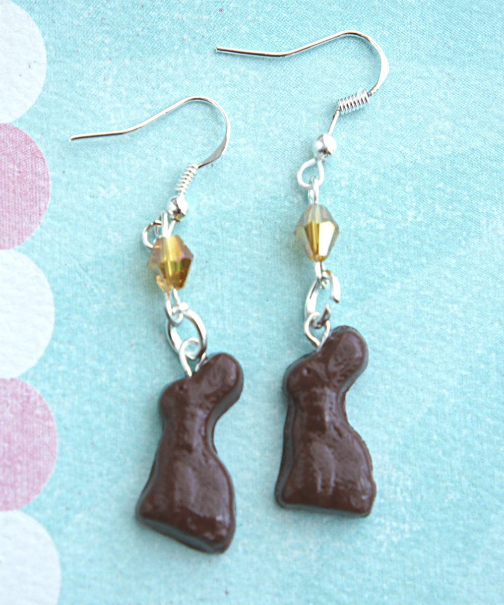 chocolate bunny dangle earrings - Jillicious charms and accessories - 1