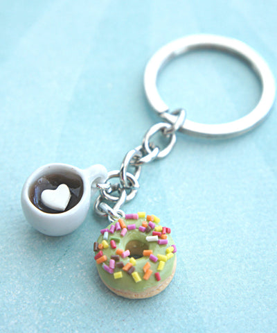 donut and coffee keychain - Jillicious charms and accessories