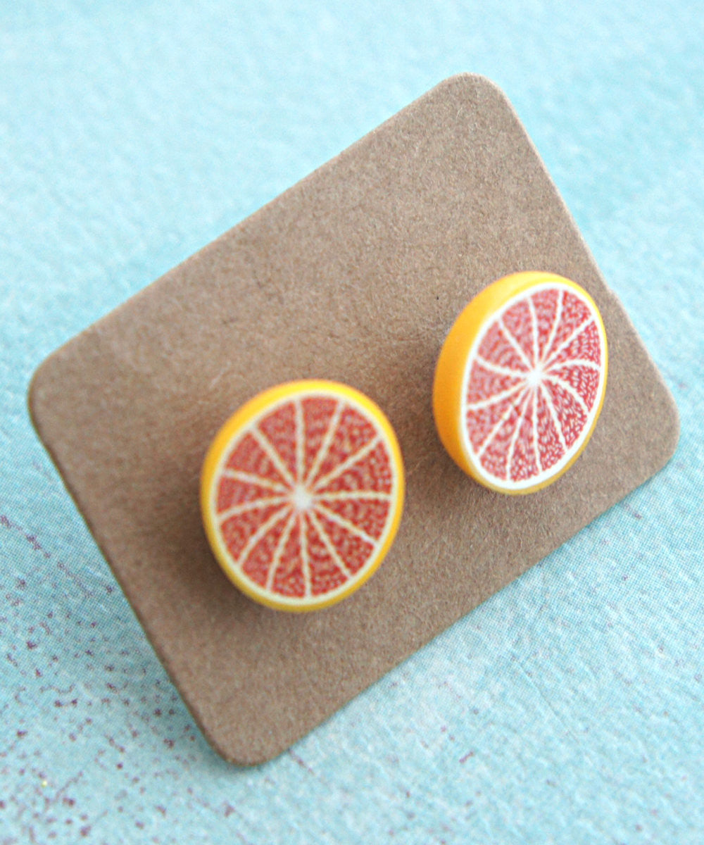 grapefruit stud earrings - Jillicious charms and accessories - 1
