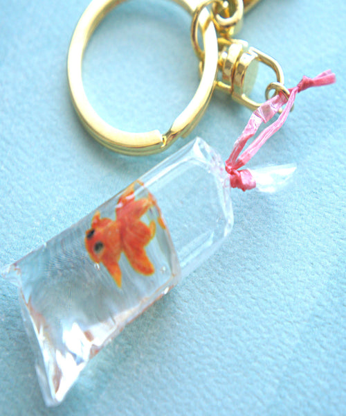 goldfish in a bag keychain/ bag charm - Jillicious charms and accessories - 1