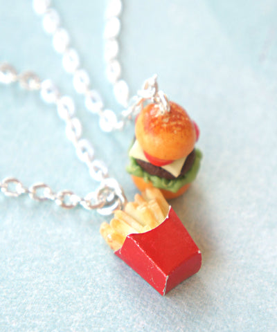 Burger and Fries Friendship Necklace Set - Jillicious charms and accessories - 1