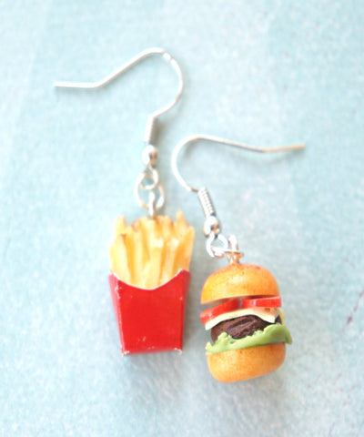 Burger and Fries Dangle Earrings - Jillicious charms and accessories - 1