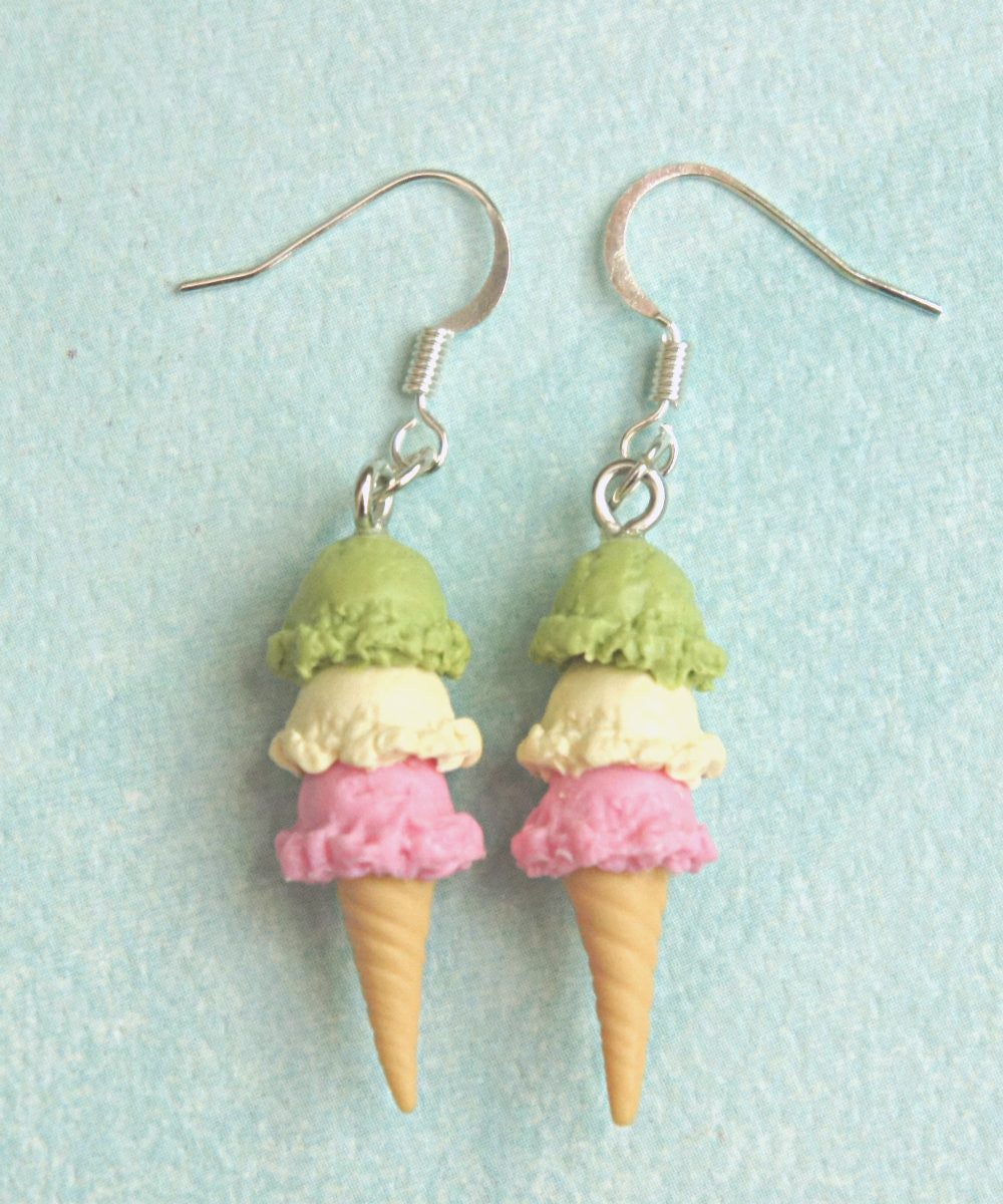 Triple Scoop Ice Cream Dangle Earrings - Jillicious charms and accessories