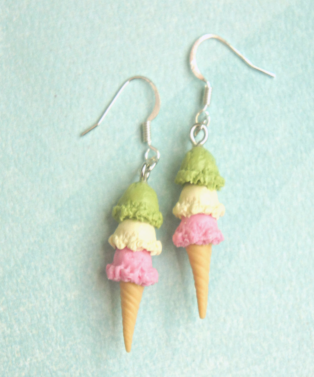 Triple Scoop Ice Cream Dangle Earrings - Jillicious charms and accessories - 2